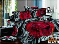 Полуторный комплект постельного белья. 3D Сатин Love You, Дикая роза