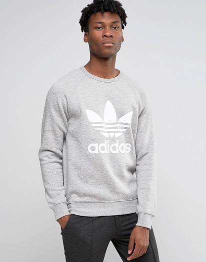 Мужской СВИТШОТ Adidas (Свитер Адидас Серый) Gray 🔥