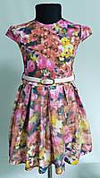 """Нарядное платье """"Сетка3D""""коралл для девочек 2до 6 (26-32 размер)"""