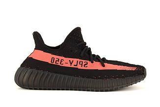 Мужские кроссовки  Adidas Yeezy 350 Boost V2 Black red