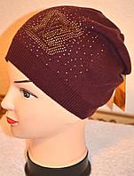 Шапка женская Стразы YSL коричневый 3376-br