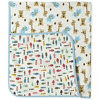 Двустороннее детское одеяло-покрывало для мальчика ТМ Berni Жирафы/Рыбки
