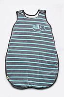 Детский спальный мешок для мальчика из велюра (конверт для сна для новорожденного) ТМ Модный карапуз Серый в полоску