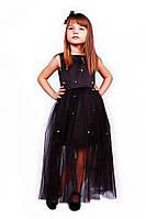 Нарядное (праздничное) платье 15-258 для девочки от 8 до 12 лет (р. 128-152) от ТМ Kids Couture Черный