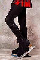Колготки для фигурного катания сатин, черные со стразами (Ice&Flame)