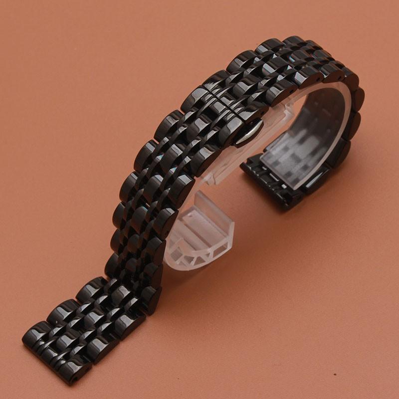 Браслет для часов из нержавеющей стали, литой, черный, полированный, 22 мм.