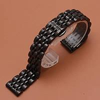 Браслет для часов из нержавеющей стали, литой, черный, полированный, 22 мм., фото 1