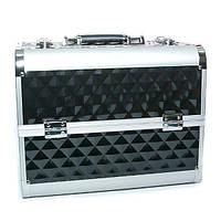 Алюминиевый кейс для косметики на 4 полки - CaseLife  А72. Черный ромб - A72-BLACK-R