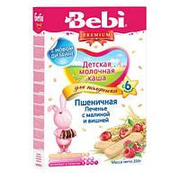Каша молочная пшеничная с печеньем, малиной и вишней Bebi Premium