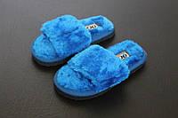Домашние пушистые тапочки синии