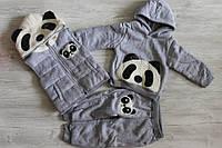 Теплый костюм тройка на махре панда