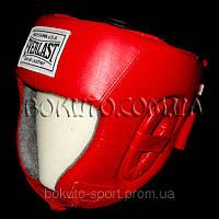 Шлем боксёрский Everlast (кожа, красный)