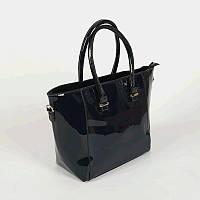 Лаковая женская корзинка темно-синяя сумка