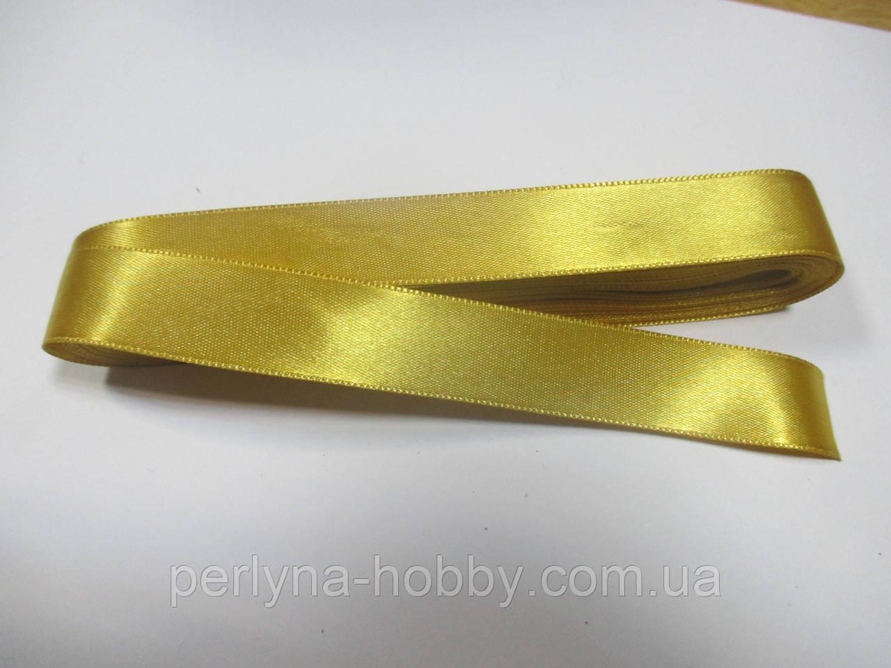 Стрічка атласна  двостороння 2 см ( 10 метрів) золотиста