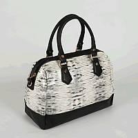 Черно-белый саквояж дамская сумочка с ручками