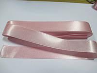 Стрічка атласна  двостороння 2 см ( 10 метрів) рожева пастельна Н 016