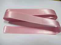 Стрічка атласна  двостороння 2 см ( 10 метрів) рожева світла Н 019