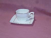 Чашка с блюдцем кофейная белая с золотой полосой фарфоровая