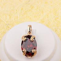 010-0528 - Позолоченный кулон овальный бордовый фианит