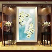 Алмазная вышивка белые императорские павлины 30*55 частичная выкладка, алмаз круглый