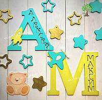 Слово из дерева, декор в детскую, украшение детской комнаты