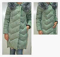 Женский стеганный пальто-пуховик на холлофайбере