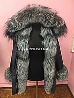 Папка 3 в 1 с мехом норвежской чернобурки, цвет плащевки черный, мех отстегивается на жилет, длина 80см