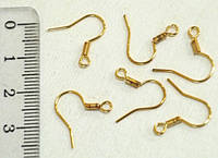 Швензы Крючок, Металл, без Никеля, Цвет: Золото, Размер: 20х19мм, Толщина 0.7мм, Отв. 2мм (350шт) 24_2_53a3