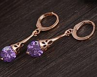 Сережки серьги  18K позолота фиолетовый