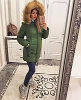 Зимняя куртка женская с мехом на капюшоне Е-лиса