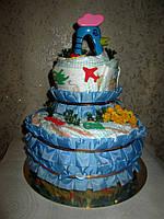 Подарок маме на рождение мальчика - торт из подгузников