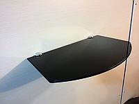 Полка стеклянная под тюнер чёрная 5 мм 35 х 22 см