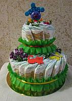 Подарок маме на рождение ребеночка - торт из подгузников