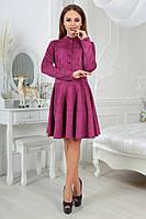 """Приталенное замшевое платье """"АсмиК"""" с расклешенной юбкой и длинным рукавом (5 цветов)"""