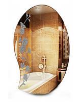 Фигурное зеркало в ванную с декором, размер 80х50 см