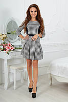 """Приталенное мини-платье в гусиную лапку """"Estella"""" со складками на юбке"""