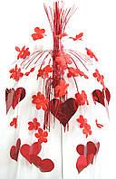 Каскад Сердца подвесной (красный) 1505-0175
