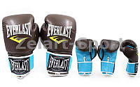 Перчатки боксерские EVERLAST (р-р 8-12oz  коричневый-голубой)