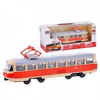 Трамвай  металлопластик, инерция, в коробке (ОПТОМ) 6411 А