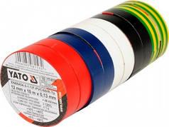 YATO Стрічки ізоляційні  12 мм х 10 м, 5 кольорів, упак. 10 рул