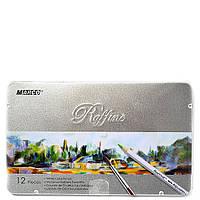 Кольорові олівці Marco 12 кольорів з пензликом акварельні