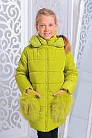 Зимняя куртка для девочек, синтепон + флис, размеры 32,34,36