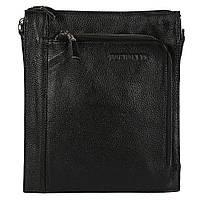 Мужская кожаная сумка-планшетка черная отличного качества