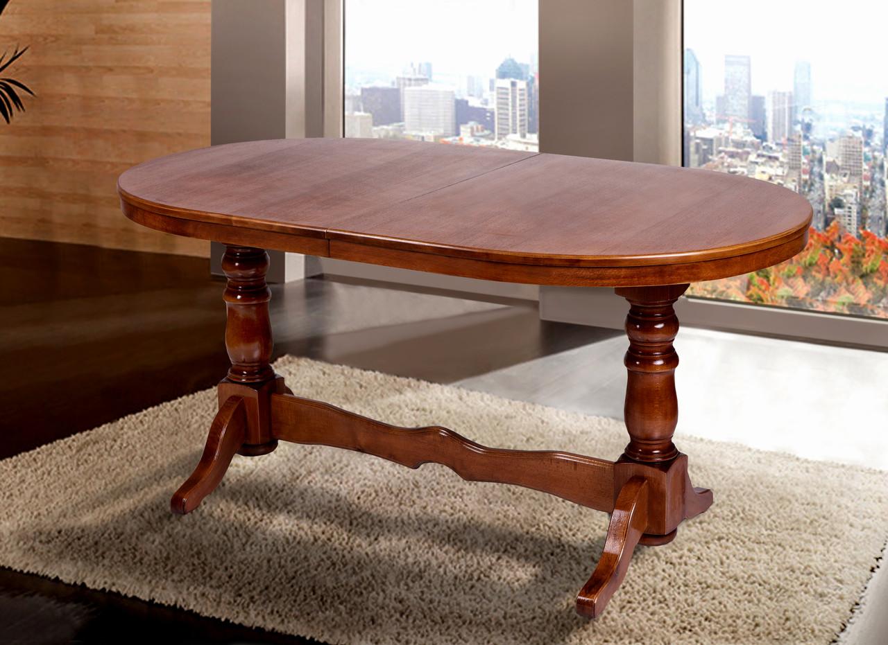 Стол обеденный  из массива бука  раскладной Атаман 1,4, орех