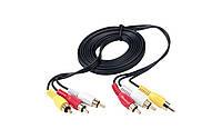 Аудио-кабель 3RCA 1.5 метра (в упаковке), кабель удлинитель