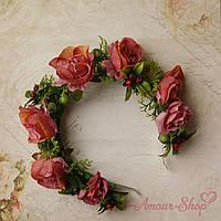 Веночек на голову из  роз (ручная работа)