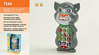 Телефон интерактивный Кот Том 7344 на батарейках, музыка, свет, сенсор