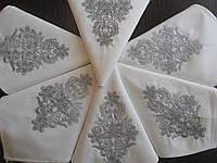 Набор праздничных салфеток из хлопка с вышивкой серебряными нитями (ручной работы)  6 шт.