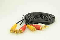 Аудио-кабель 3RCA 3 метра, кабель 3 RCA на 3 RCA (тюльпан)