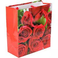 Пакет подарочный, 18×16×7 см / красные розы